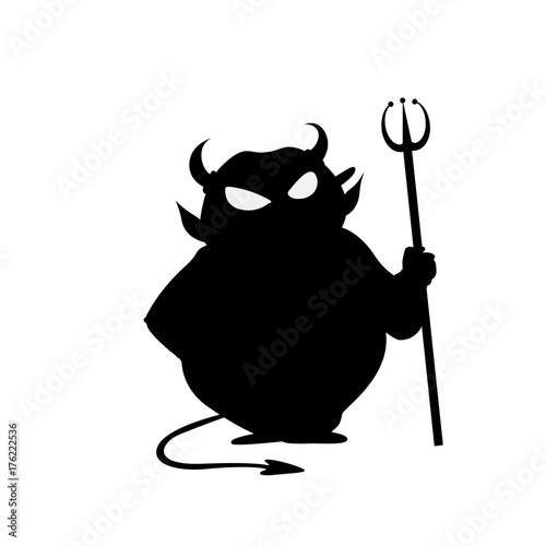 Printed kitchen splashbacks Draw Devil with trident halloween vector icon illustration isolated on white background.