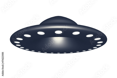 Poster UFO Alien spaceship ufo isolated on white background 3d rendering.