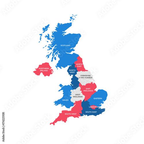 United Kingdom Regions Map Canvas Print