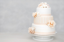 Three-tiered White Wedding Cak...