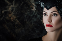 Beautiful Woman Dressed As Maleficent