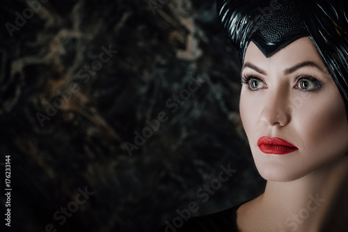 beautiful woman dressed as Maleficent Canvas Print