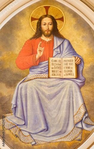 Zdjęcie XXL LONDYN WIELKI BRYTANIA, WRZESIEŃ, - 17, 2017: Fresk jezus chrystus nauczyciel w kościół St Martin, Ludgate niewiadomym artystą.