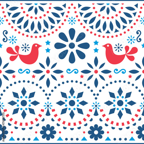 Fotografija  Mexican folk art vector seamless pattern with birds and flowers, red and blue fi