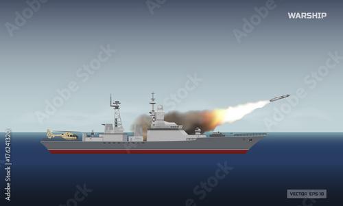 Plakat Okręt wystrzeliwujący rakietę. Militarny statek i pocisk na dennym tle. Wiadomości obrazujące konflikt zbrojny
