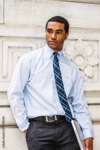 df493ac345e Young Handsome African American Businessman thinking