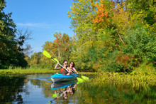 Family Kayaking, Mother And Ch...