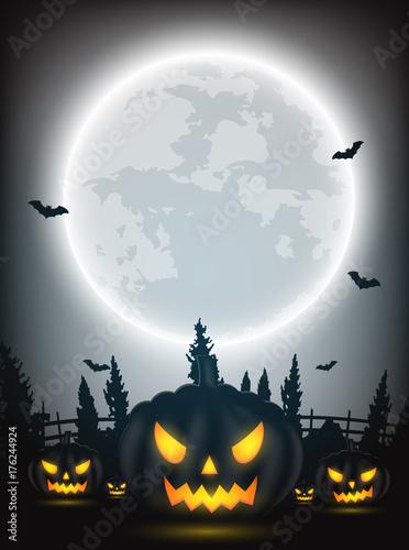 Fototapeta Noc Halloween tło z dyni, nagie drzewa, nietoperza i pełni księżyca na ciemnym tle