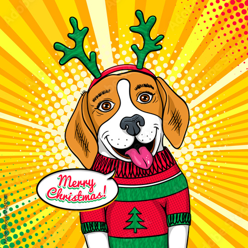 Wow Pop Art Dog Face Funny Cute Surprised Beagle With Tongue In A