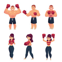 Vector Cartoon Muscular Strong...