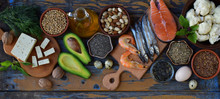 Composition Of Products Containing Unsaturated Fatty Acids Omega 3 - Fish, Nuts, Tofu, Avocado, Egg, Soybeans, Flax, Pumpkin Seeds, Chia, Hemp, Cauliflower, Dill, Vegetable Oil. Top View. Healthy Food