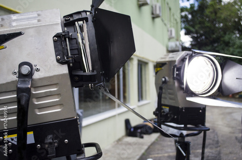 Vászonkép spotlight with directional light with a fresnel lens halogen lamp and protective