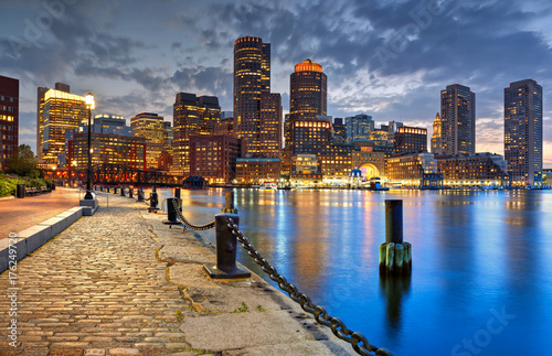 Stampa su Tela Boston Skyline at Night
