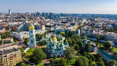 Photo Stands Kiev Aerial top view of St Sophia cathedral and Kiev city skyline from above, Kyiv cityscape, capital of Ukraine