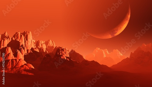 red desert, rocky surface of Mars, 3d rendering