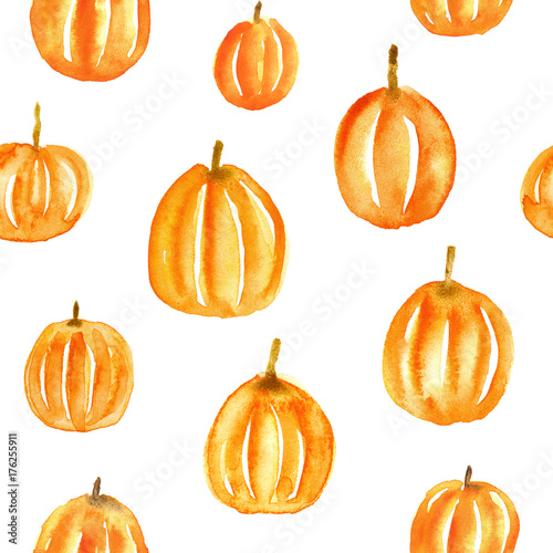 Cute Seamless Pattern With Hand Drawn Watercolor Pumpkins