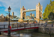 London - The Tower Bride and entry in St. Katharine docks in morning light.