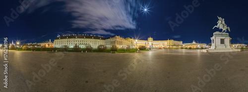 Obraz na dibondzie (fotoboard) Plac Bohaterów Wiednia nocą (Panorama)