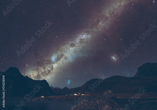 Night Landscape Photography With Starry Milky Way Sky Photo Background Wallpaper #176258341