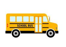 School Bus Vector Icon On Whit...