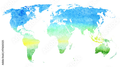 World map.Earth.Watercolor hand drawn illustration.Sky and meadow ...