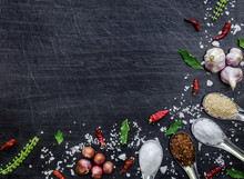 Top View Of Food Ingredients And Condiment On The Table, Ingredients And Seasoning On Dark Wooden Floor, Thai Spicy Ingredients With Chili, Garlic, Sugar, Salt, Herb