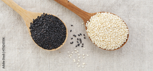 Black and white sesame on wood spoon