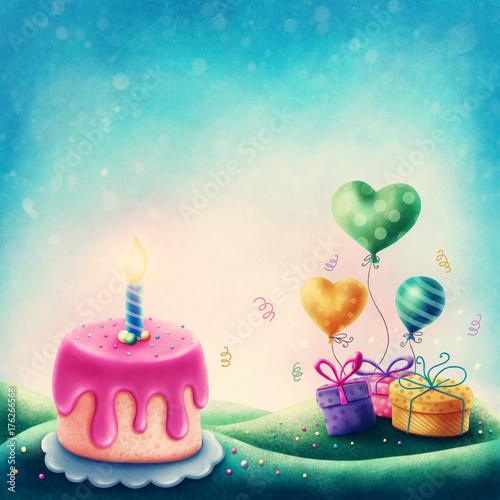 tort-urodzinowy-ze-swieczka-oraz-prezenty-z-balonikami