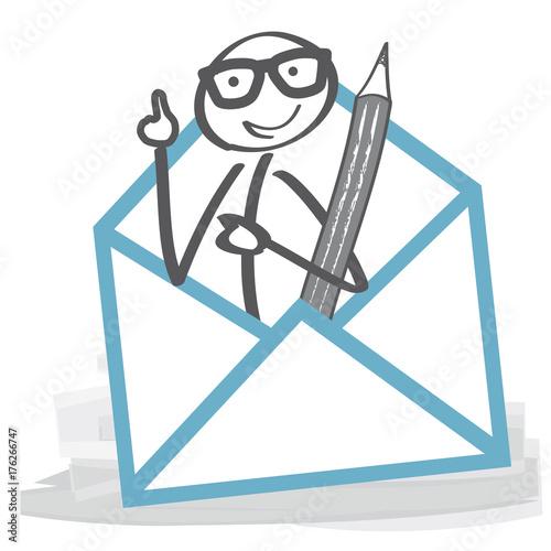 Strichmännchen Nimmt Kontakt Auf Und Schreibt Brief Briefumschlag