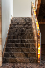 Staircase With Marble Railing Glowing