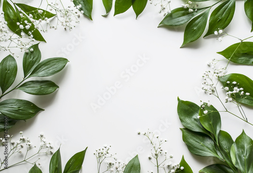 Wall Murals Floral Creative layout of foliage on a white background with space for text. White gypsophila. Frame of leaves and flowers. Floral background. View from above.