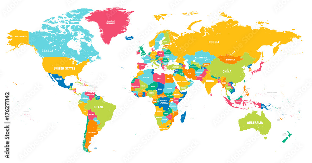 Fototapety, obrazy: Colorful Vector world map