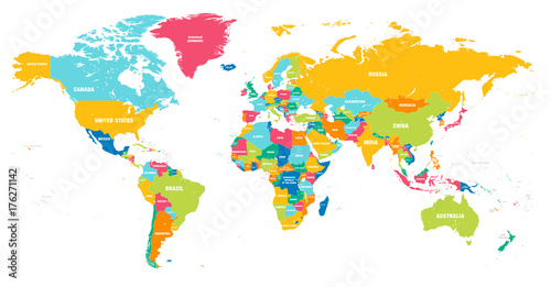 Foto auf Leinwand Weltkarte Colorful Vector world map