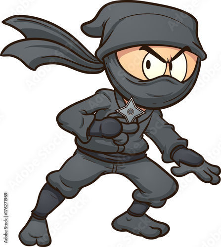 Cartoon ninja holding a star Canvas Print