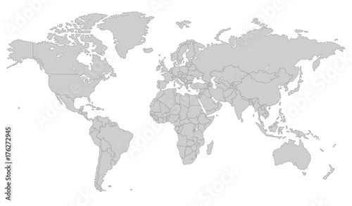 Photo Stands World Map Grey Vector world map