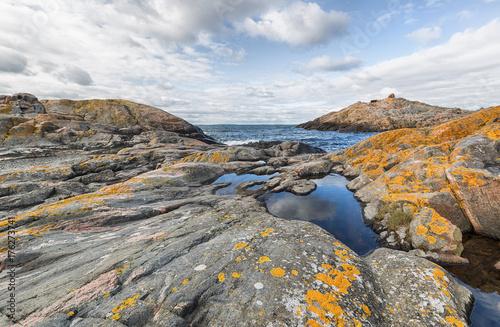 Rocky landscape on island in Stockholm archipelago. Canvas Print