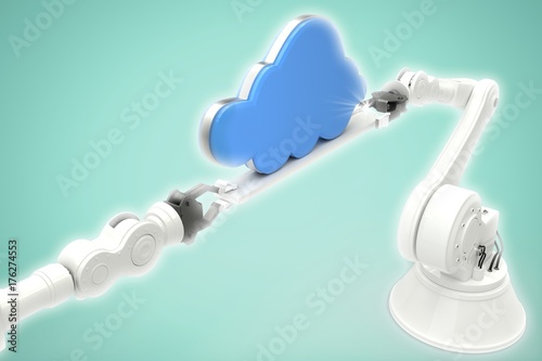 Photo  Composite image of metallic robotic hands holding cloud against