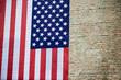 USA flag on brick wall texture