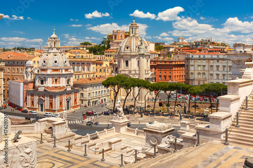 Garden Poster Rome Piazza Venezia, Ancient ruins of Trajan Forum, Trajan Column and churches Santa Maria di Loreto and Most Holy Name of Mary as seen from Altar of the Fatherland in Rome, Italy