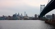 Time-lapse of the Philadelphia skyline behind the Benjamin Franklin Bridge at dusk