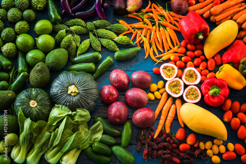 Different fresh fruits and vegetables for eating healthy © peangdao