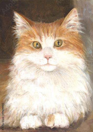 Czerwony kotek, obraz olejny