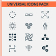 Robotics Icons Set. Collection Of Analysis Diagram, Computing Problems, Mechanism Parts And Other Elements. Also Includes Symbols Such As Cogwheels, Conditional, Linked.