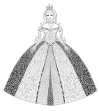 Princess Page For Adult Coloring Book. Decorative Doodle Girl Isolated On White.