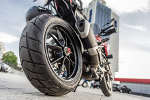 Rear Wheel Of Red Motorcycle I...