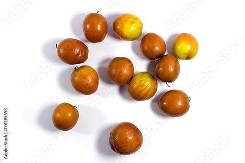 Valokuva  Jujube fruits close up on white background.