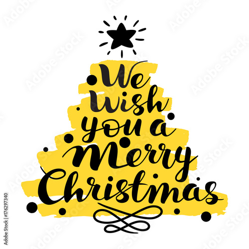 Merry Christmas Writing Clipart.We Wish You A Merry Christmas Text Lettering Hand Writing
