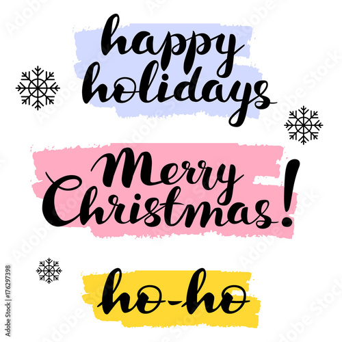 Merry Christmas Writing.Happy Holidays Merry Christmas Ho Ho Text Lettering Hand