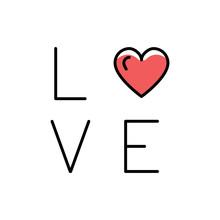 Love Text Icon. Line Art Desig...