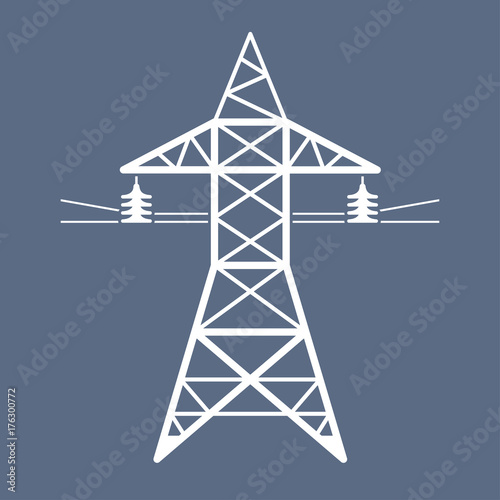High voltage power line transmission tower icon Canvas-taulu